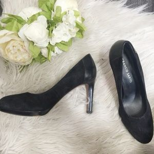 Franco Sarto black suede and leather heels shoes